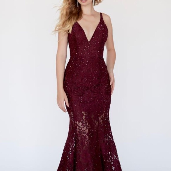 Jolene Dresses Maroon Lace Prom Dress Poshmark
